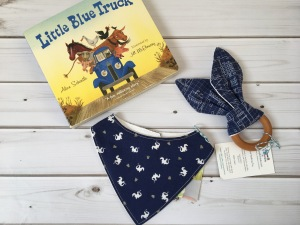Baby boy gift, blue gift, little blue truck, blue bib, blue teething toy