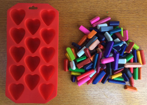 Heart tray + broken crayons