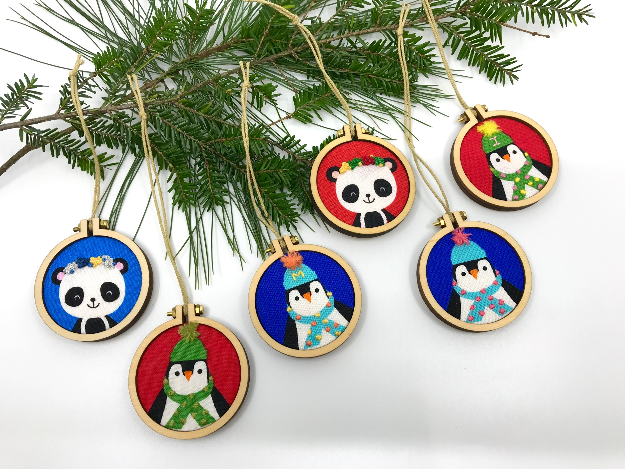 Mini hand-embroidered ornaments by pen&thimble are perfect for the kid's Christmas tree!